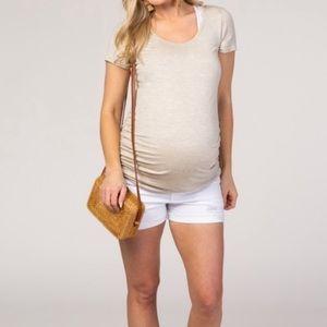 Pinkblush Distressed Cuffed Hem Maternity Shorts